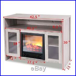 1250w Log Flame Stove Portable Free Standing Electric Fireplace TV Console Heat