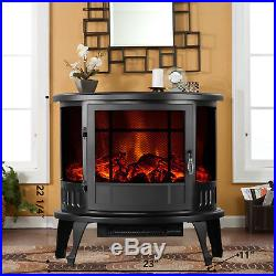 1500W 23 Adjust Electric Fireplace Free Standing Heater Wood Fire Flame Stove