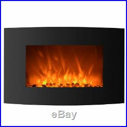 1500W Heat Adjustable Electric Wall Mount Fireplace Heater Standing with Glass
