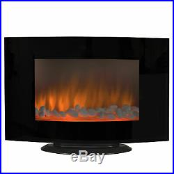 1500W Heat Adjustable Electric Wall Mount Standing Fireplace Heater with Glass XL