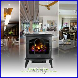 20 Electric Fireplace Heater Freestanding Remote Adjust Log LED Flame Stove