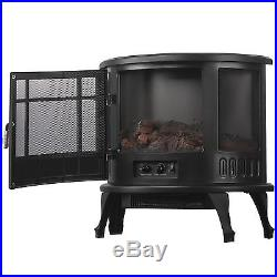 23 Standing Electric Fireplace Stove 1500W Heater Realistic Flame Adjustable