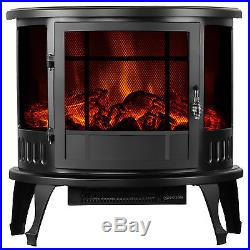 23 Standing Electric Fireplace Stove Adjustable 1500W Heater Realistic Flame
