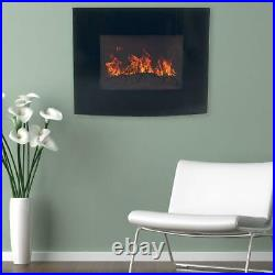 25 in. Curved Glass Electric Fireplace Wall Mount and Remote in Black