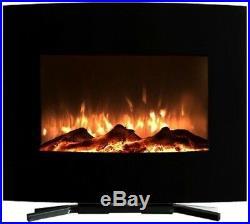 25 in. Mini Curved Electric Fireplace Heat Wall and Floor Mount Modern Black
