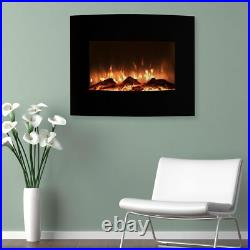 25 in. Mini Curved Electric Fireplace with Wall and Floor Mount in Black