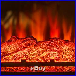 27 Freestanding Electric Fireplace Brown Wooden Mantel Heater with 3D Flame Log