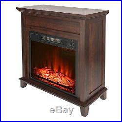27 Freestanding Electric Fireplace Wood Mantel Brown 3D flame with Logs Heater