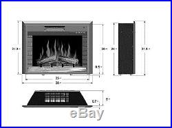 28 Fireplace Electric Remote Insert Freestanding 1500W 5200BTU Glass Flame LED
