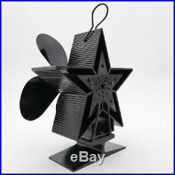 2pcs Heat Powered Stove Fan Fireplace Blower Fan 80-400 Blue & Black