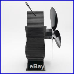 2pcs Heat Powered Stove Fan Fireplace Blower Fan 80-400 Silver & Black