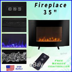 35Electric Wall Mount TV Stand LED Flame Firebox Stove Fireplace 3-Color Remote