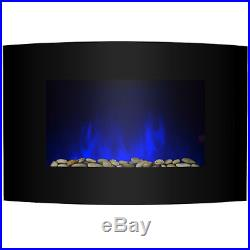 36 2 Setting Flame Effect Curved Tempered Glass 2-in-1 Electric Fireplace Stove