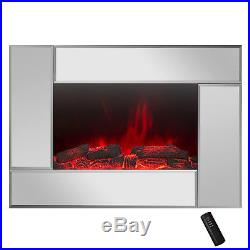 36 Freestanding Electric Fireplace Heat Tempered Glass Wall Mount Adjustable
