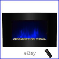 36 Tempered Glass Electric Fireplace Heat Wall Mount 2 Setting LED Log 2 in 1