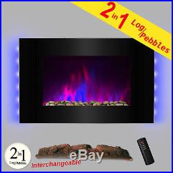 36 Tempered Glass Heat Wall Mount Adjustable LED Log 2-in-1 Electric Fireplace