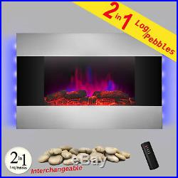 36 Wall Mounted Electric Fireplace Control Remote Heater Firebox Wood & Pebble
