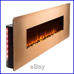 3-in-1 48 Wall Mount Freestanding Electric Fireplace Gold Remote Crystal Heater