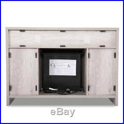 42.5 1250W Adjustable Electric Fireplace TV Stand Console Heater Center Storage