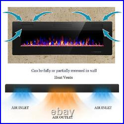 42 Electric Fireplace, Recessed Wall Mounted and in-Wall Fireplace Heater