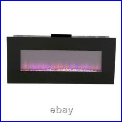 42 in. LED Fire and Ice Electric Fireplace with Remote in Black