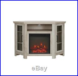 48 Corner Fireplace Wood Media TV Stand Console Oak Beachwood Flame Logs Heater