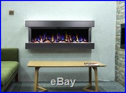 50 Inch Led Digital Flames New Mantel Wall Mounted Electric Fire 3 Sided Glass