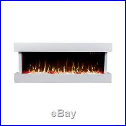 50 Inch Led Flames Modern Mantel Glass Wall Mounted Electric Fire Fireplace 2018