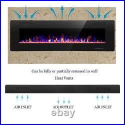 60 Electric Fireplace, Recessed&Wall Mounted, Ultra Thin$Low Noise, Remote Control