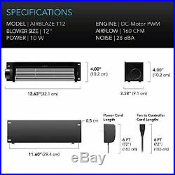 AC Infinity AIRBLAZE T12, Universal Fireplace Blower Fan Kit, with Temperature a