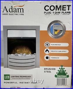 Adam Comet Brushed Steel Inset Electric Fire