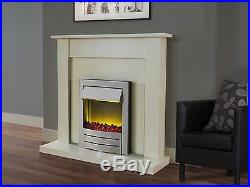 Adam Fireplace Suite in Cream with Electric Fire in Brushed Steel
