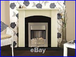Adam Fireplace Suite in Cream with Electric Fire in Brushed Steel, 39 Inch