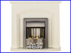 Adam Fireplace Suite in Cream with Electric Fire in Brushed Steel, 41 Inch