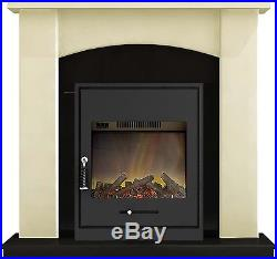 Adam Fireplace Suite in Cream with Oslo Electric Fire in Black, 39 Inch