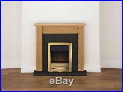 Adam Fireplace Suite in Oak and Black with Electric Fire in Brass, 43 Inches