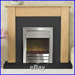 Adam Fireplace Suite in Oak and Black with Electric Fire in Chrome, 43 Inch
