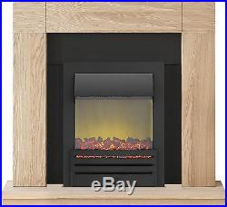 Adam Fireplace Suite in Oak with Eclipse Electric Fire in Black, 39 Inch