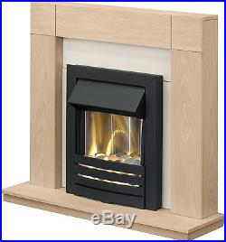 Adam Fireplace Suite in Oak with Electric Fire in Black, 39 Inch