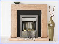 Adam Fireplace Suite in Oak with Electric Fire in Brushed Steel, 39 Inch
