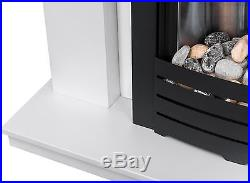 Adam Fireplace Suite in Pure White with Electric Fire in Black, 39 Inch