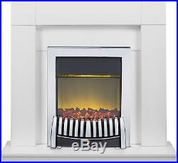 Adam Fireplace Suite in Pure White with Elise Electric Fire in Chrome, 39 Inch