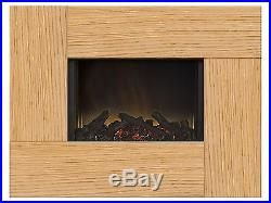 Adam Galaxy Wall Mounted Electric Fire in Oak, 30 Inch, Log Bed