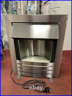 Adam Helios 2kW Electric Inset Fire Brushed Steel