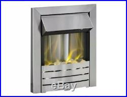 @ Adam Helios Electric Inset Fireplace Fire Brushed Steel 1 & 2 kw heater 6421