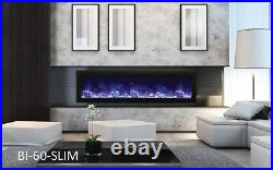 Amantii Bi-60-Slim Panorama Series Electric Fireplace Built In With Heat Fire&Ice