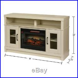 Ashmont 54 in. Freestanding Fireplace TV Stand in Antique White Home Decor