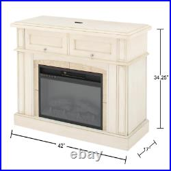 Bellevue Park 42 in. Mantel Console Infrared Electric Fireplace in Antique White