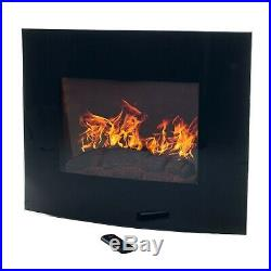 Black Curved Glass Electric Fireplace Wall Mount & Remote 25 x 20 Inch 1500W
