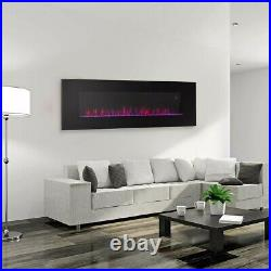 Black Electric Fireplace Wall Mount Heated Led Remote Control 3 Color Flame 50